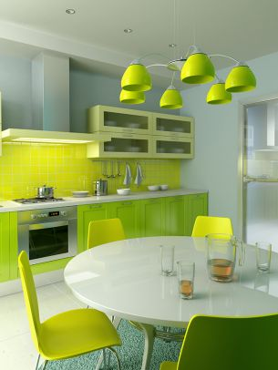 Bright new lime kitchen