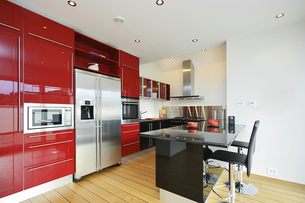 Bright modern red kitchen