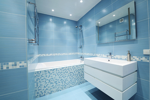 Modern blue bathroom refurbishment